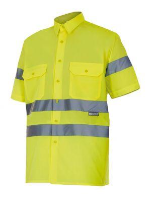 Camisas reflectantes velilla manga corta alta visibilidad 141 de algodon vista 1