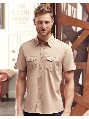 Camisas manga corta russell manga doblada con bolsillos hombre con publicidad vista 2