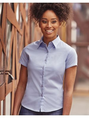 Camisas manga corta russell clásica sarga manga corta mujer con logo vista 2
