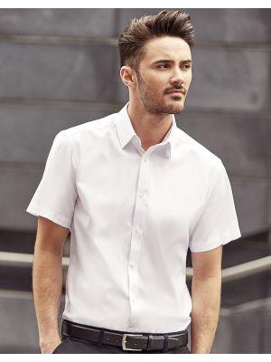 Camisas manga corta russell en espiguilla manga corta hombre con publicidad vista 1