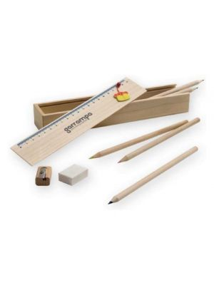 Estuches doodle de madera con publicidad vista 1