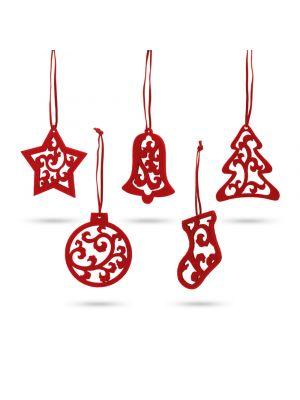 Navidad jubany. set de 5 adornos de navidad de fieltro con impresión vista 5