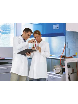 Batas sanitarias valento farmacéuticas blancas vista 1
