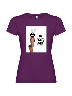 Camisetas despedida mujer de fiestas con tu foto diseño de conejita 100% algodón con impresión vista 1