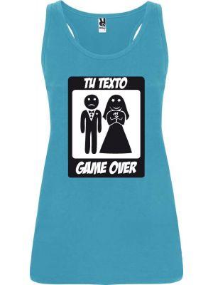 Camisetas despedida mujer de tirantes de despedida diseño game over 100% algodón con impresión vista 1