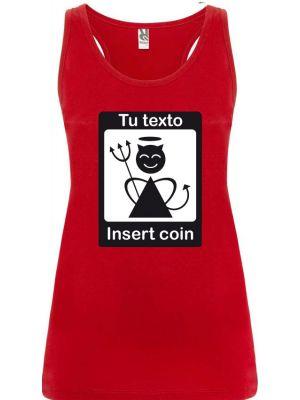Camisetas despedida mujer de tirantes de despedida diseño insert coin 100% algodón vista 1
