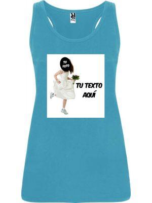 Camisetas despedida mujer de tirantes de despedida en color con diseño de novia corriendo 100% algodón con impresión vista 1