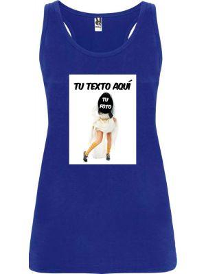 Camisetas despedida mujer de tirantes de despedida con foto de novia en zapatillas 100% algodón para personalizar vista 1