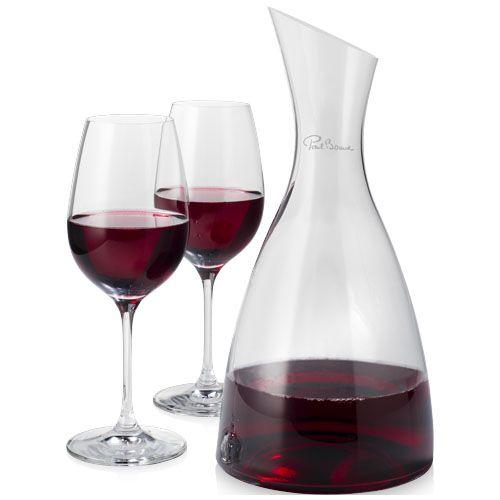 Accesorios vino decantador con 2 copas de vino prestige de vidrio con logo vista 1