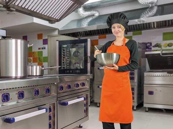 Delantales de hostelería valento oven de poliéster con impresión vista 1